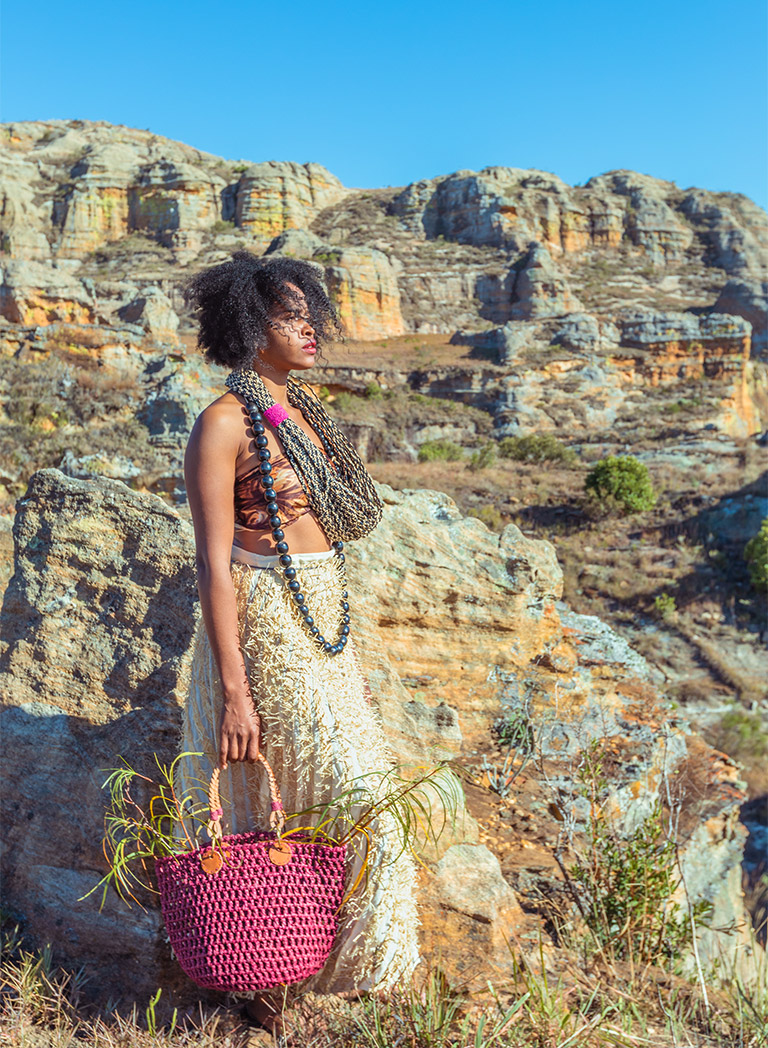 Sac Zanzibar en raphia, Lookbook Sans Arcidet Paris
